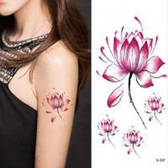 HJLWST 1PC Lotus Flower Waterproof Tattoo Sticker. Tattoo sticker use green ink and glue, is harmless to human body. Paste the successful design with waterproof and sweat-proof function, will not fall off in the shower, but do not rinse with hot water for too long, should not be rubbed with. Different parts of the pattern paste, duration of different patterned after 3-5 days began to fall under normal usage conditions, feet and other parts can be kept for a week or so. Oily skin will...