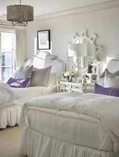 Suzie: Joy Tribout - Chic girls' bedroom with white sunburst mirror, mirrored nightstand ...