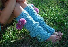 Crochet legwarmers with pom poms