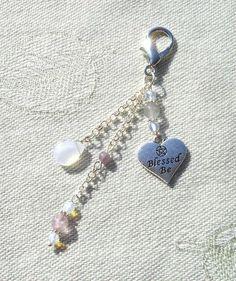 Gemstone, Blessed Be, Pentagram Bag Charm - Fashion Charm - Purse Charm