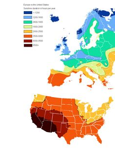 Sunlight duration in hours per year in Europe and the continental United States.