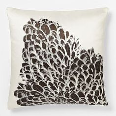 Swan Feather Silk Pillow Cover #westelm