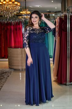 Cute Prom Dresses, A-Line Round Neck Navy Blue Chiffon Plus Size Dress with Lace, Shop plus size prom dresses and full figured formal gowns with an affordable price. Elegant Prom Dresses, Prom Dresses With Sleeves, Simple Dresses, Peplum Dresses, Chiffon Dresses, Ivory Dresses, Dressy Dresses, Bride Dresses, Plus Size Long Dresses