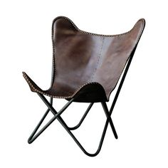 Creative Co-Op Terrain Metal and Leather Butterfly Side Chair