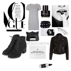 """""""black and white"""" by aneukrfl on Polyvore featuring M.i.h Jeans, New Look, Topshop, Lacoste, NIKE, Valentino, Little Barn Apothecary and Kenneth Cole"""