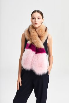 Stole Multicolor Magenta, Faux Fur, Fur Coat, Beige, Street Style, Jackets, Women, Fashion, Down Jackets