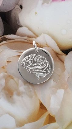 Sterling silver pendant featuring an engraved, anatomically correct brain. Our jewellery makes such a unique gift and you can customise it with an engraved message on that back to make it even more personal - come look at the full range! Engraved Jewelry, Engraved Necklace, Personalized Jewelry, Delicate Jewelry, Simple Jewelry, Silver Jewelry, Silver Necklaces, Silver Ring, Initial Bracelet
