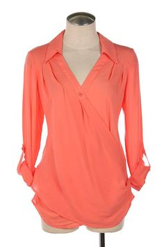 Coral single button blouse.