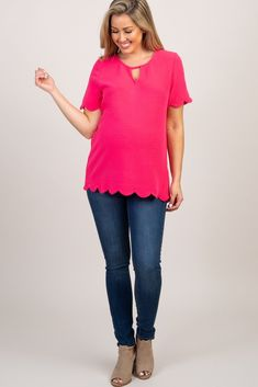 82babc472f59cb Fuchsia Scalloped Trim Keyhole Cutout Maternity Top