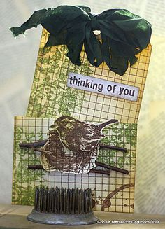 Pocket Tag Card by Connie Mercer using Darkroom Door Love Birds Rubber Stamps and Floral Texture Stamp.