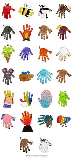 Handprint Art Discover Handprint Alphabet A is for Apple B is for Bee this handprint alphabet covers A-Z. This is an easy handprint alphabet with printable PDF of each handprint available. Daycare Crafts, Baby Crafts, Craft Stick Crafts, Preschool Crafts, Crafts To Make, Kids Crafts, Craft Projects, Arts And Crafts, Creative Crafts