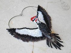 Pilated Woodpecker Suncatcher Woodpecker Ornament Beaded