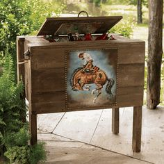 Western Cooler w/ Bronco Painting