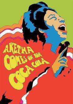 Milton Glaser, Aretha Franklin for Coca-Cola, 1968 Coca Cola Poster, Coca Cola Ad, Pop Art, Wall Of Sound, Milton Glaser, Movie Poster Art, Aretha Franklin, Design Graphique, Retro Art