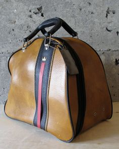 Handsome Vintage Leather Brunswick Bowling Bag, w Black Stripe and red Ribbon by MidModery on Etsy