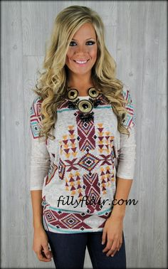 Hot Springs Aztec Dolman top in turquoise and brown LOVE!!