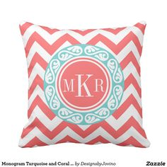 Shop from Zazzle's large selection of monogram decorative & custom pillows. Transform any space into the perfect space with monogram pillows! Coral Throw Pillows, Monogram Pillows, Custom Pillows, Decorative Pillows, Coral Chevron, Turquoise, Decorative Throw Pillows, Decorative Bed Pillows, Coral Pillows