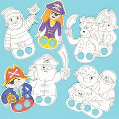 Baker Ross Pirate Colour-in Finger Puppets 8 Assorted Designs Children's Craft Activities Kits (Pack of Pirate Preschool, Pirate Activities, Pirate Kids, Pirate Crafts, Pirate Day, Pirate Theme, Craft Activities, Preschool Crafts, Pirate Birthday