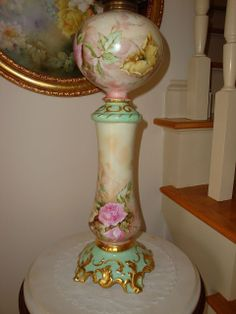 Antique Limoges France Ca 1894 Original Oil Lamp Parlor Lamp Banquet Lamp Spectacular Roses~Signed~Dated~ 1896`