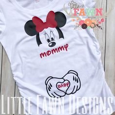 Minnie Mouse Mommy & Baby Maternity Shirt PERFECT for your Disney pregnancy announcements!! Tanks & Tees have ruching on the sides and are made from soft, stretchy, jersey fabric. They are fit to flatter! Made with solid vinyl >>>> PLEASE ADD IN MESSAGE TO SELLER THE COLOR YOU WOULD LIKE THE BOW & MOMMY/BABY TEXT ON THE SHIRT <<<< Sizing: T-Shirt available in sizes XS-XL 2X shirts are available in WHITE TEES ONLY but very limited quantities!! Please ...