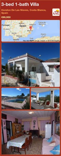 3-bed 1-bath Villa in Hondon De Las Nieves, Costa Blanca, Spain ►€89,950 #PropertyForSaleInSpain
