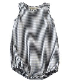 He'll be set for spring in this amazingly soft 100% organic cotton bubble romper with navy and ivory stripe detail.