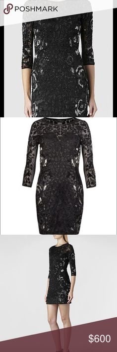 Embellished ALLSAINTS dress Combining sheer French mesh with a premium cupro fabric, the Ivy Long Sleeved Dress is a slim fitting evening dress. Featuring delicate glass beads and sequins in a tonal artwork and detailed with a floral motif and animal print. Style runs true to size. Fabric: 100% Polyester. All Saints Dresses Mini