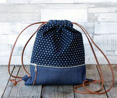 Great gift for sister. Lovely Backpack made in denim combined with a printed cotton fabric / Indigo – a unique product by LoLahn-Handmade via en.DaWanda.com