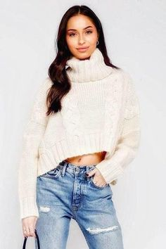 Oversized Cropped Turtleneck Sweater 80% Acrylic 20% Wool Oversized Turtleneck Long Sleeves Cropped In Stock We Wear, How To Wear, Matches Fashion, How To Feel Beautiful, Cropped Sweater, Wholesale Clothing, Turtle Neck, Knitting, Sweaters