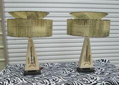 2 CHALKWARE PLASTER MAJESTIC LAMPS FIBERGLASS SHADES MID CENTURY RETRO ATOMIC