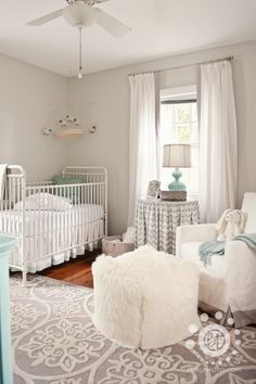 Grey and white neutral nursery. #nursery