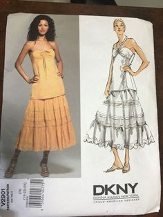 Vogue 2901 Donna Karan tiered skirt and camisole style top, UC FF, sz Donna Karan, Tiered Tops, Tiered Skirts, Skirt Patterns Sewing, Vogue Sewing Patterns, 2010s Fashion, Vintage Vogue Patterns, Size 14 Dresses, Sun Dresses