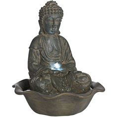 Universal Lighting and Decor Indoor-Outdoor LED Seated Buddha Water... ($35) ❤ liked on Polyvore featuring home, outdoors, garden fountains, fountains, grey, fountain and fountain light