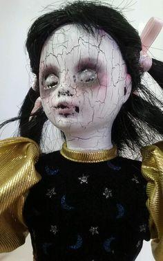 Creepy OOAK Reborn,Horror, gothic Golden Clown Doll