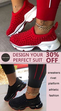 Women Athletic Microfiber fabric Rivet Slip On Platform Sneakers Sneakers Fashion Outfits, Mode Outfits, Fashion Shoes, Cute Sneakers, Casual Sneakers, Athletic Fashion, Athletic Women, Style Africain, Nike Air Shoes