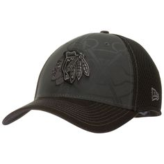 Chicago Blackhawks Charcoal and Black Primary and Tomahawks Logo Flex Fit Hat by New Era #Chicago #blackhawks #ChicagoBlackhawks
