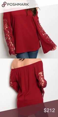 Burgundry Off shoulder top New!  Stunning Off the shoulder long sleeve burgundy top with lace detailed sleeves. 100% POLYESTER  modeled in a size small HVHOUSEWIFE Tops Blouses