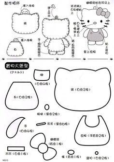 Molde para hacer la muñeca Hello Kitty de fieltro