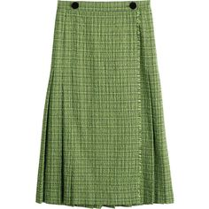 Marco de Vincenzo Skirt (595,405 KRW) ❤ liked on Polyvore featuring skirts, green, green skirt, mid calf skirts, green midi skirt, calf length skirts and textured skirt