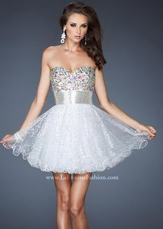 La Femme 18902 Strapless Beaded Dress