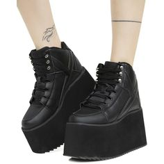 Y.R.U. Qozmo II Platform Sneakers ($150) ❤ liked on Polyvore featuring shoes, sneakers, platform trainers, high top sneakers, platform high tops, high top shoes and shock absorbing shoes
