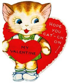 Kitten Valentine - Yestercards! Free Vintage Greeting Cards Sharing Site.