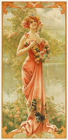 Enraptured Rose by Gaspar Camps 1904 France - Vintage Poster Reproductions. This vertical french turn of the century poster features a young woman with roses, in a gown with butterflies standing next to a pond. Giclee Advertising Print. Classic Posters