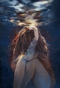 I feel like I'm drowning.... in my thoughts, in life, in everything. / Ich habe das Gefühl ich ertrinke... in meinen Gedanken, im Leben, in allem.  ( Illustrations by sung-choul ham )