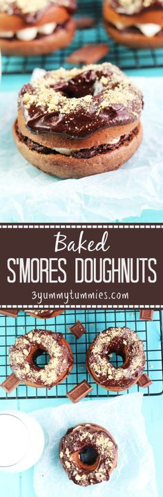 Baked Chocolate Doughnuts layered with chocolate glaze, marshmallows and graham cracker crumbs...you have to try these!