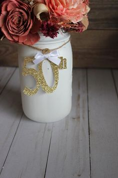 50 anniversary Birthday Party Decorations / Anniversary Decor / Fifthy Centerpiece / 50 Number Decor 50 Birthday Decorations / Anniversary Decorations / Rustic Centerpiece / 50 Number Decor / Set of 4 Rustic Anniversary Party, 50th Wedding Anniversary Decorations, 50th Birthday Party Decorations, Anniversary Ideas, Second Anniversary, 50 Birthday, Sister Birthday, Birthday Gifts, Mouse Parties