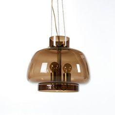 TAKARMATUR, Orrefors, design Wiktor Berndt, kupa i brunt glas med innerglas, höjd ca 35, diameter ca 38 cm