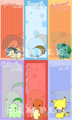 Pokemon Bookmarks by Kioushan