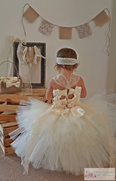 Ivory Rosette & Lace Tiered Extra Fluffy Tutu Flower Girl Dress