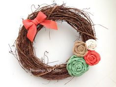 14 inch Grapevine Wreath, Mint, Coral, White, Sand Burlap Flowers with Mini Bow Spring Summer Wreath Grapevine Wreath, Burlap Wreath, Bridal Shower Wreaths, Mint Coral, Yellow, Bow Hanger, Burlap Flowers, Wooden Projects, Summer Wreath